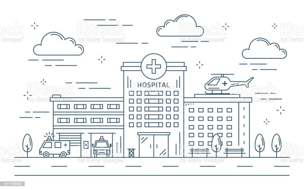 Linie Krankenhausgebäude im Freien. – Vektorgrafik