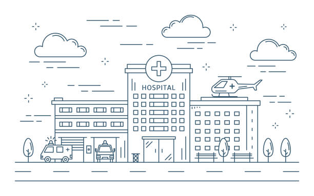 line hospital building outdoors. - hospital stock illustrations