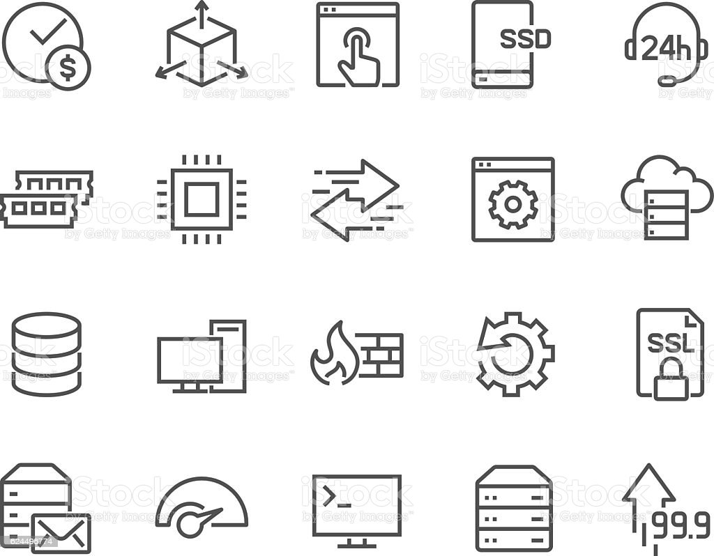 Line Hosting Icons vector art illustration