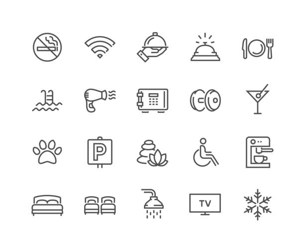 Line Hotel Icons Simple Set of Hotel Related Vector Line Icons.  Contains such Icons as One Large and Two Separate Beds, Air Conditioning, Wi-Fi and more. Editable Stroke. 48x48 Pixel Perfect. hotel stock illustrations
