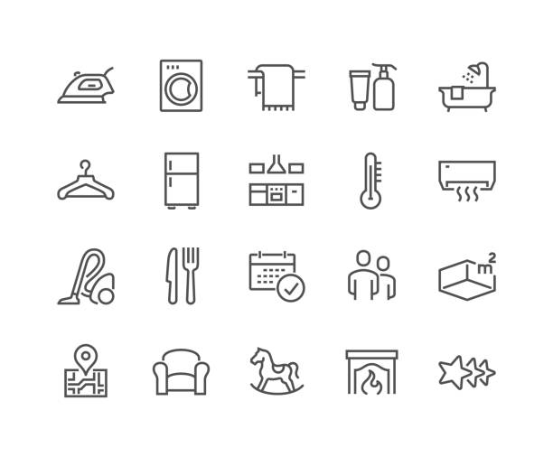 Line Hotel Icons Simple Set of Hotel Related Vector Line Icons.  Contains such Icons as Available Date Calendar, Toiletries, Room Size and more. Editable Stroke. 48x48 Pixel Perfect. domestic kitchen stock illustrations