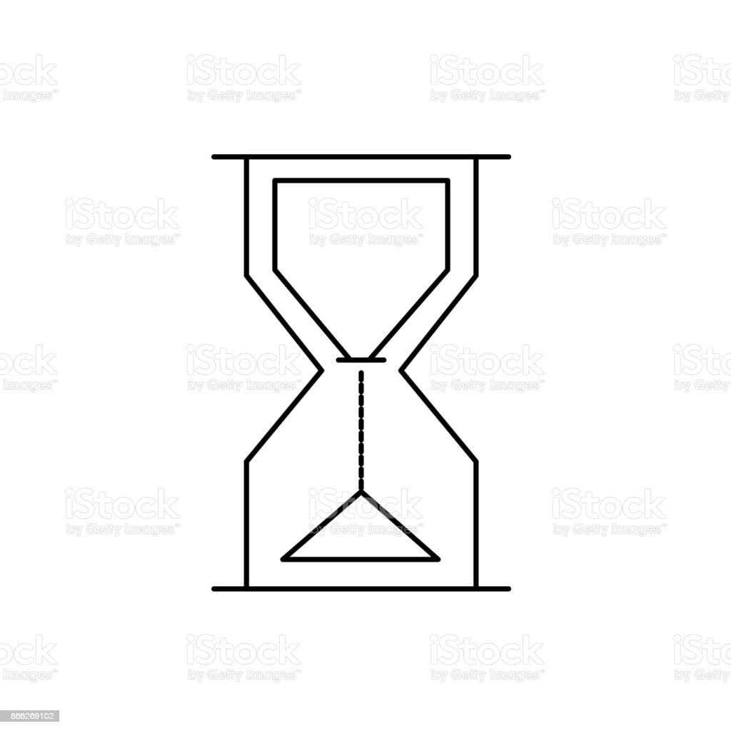 line hourglass object design to know the time vector art illustration