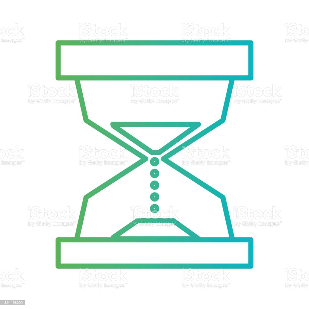 line hourglass object to know the time vector art illustration