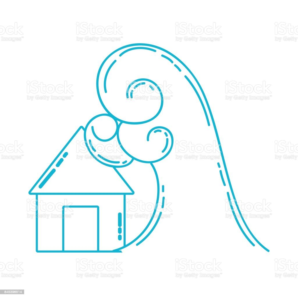çizgi Ev Sel Su Felaket Hava Stok Vektör Sanatı Acil Işaretinin