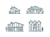 Abstract line houses icon set. Different Estate collection in flat linear style isolated on white vector illustration