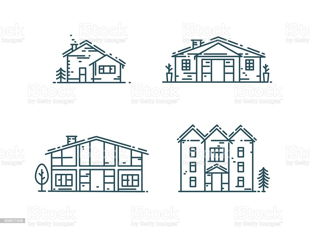 Line houses icon set. vector art illustration
