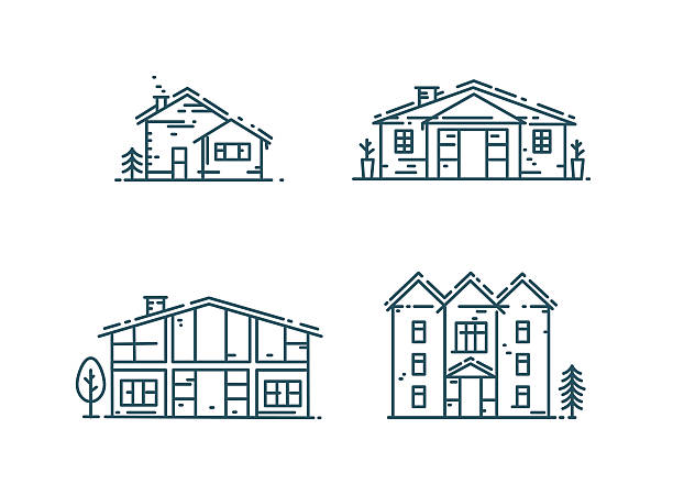 Line houses icon set. Abstract line houses icon set. Different Estate collection in flat linear style isolated on white vector illustration villa stock illustrations