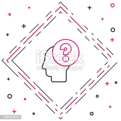 istock Line Human head with question mark icon isolated on white background. Colorful outline concept. Vector Illustration 1264016101