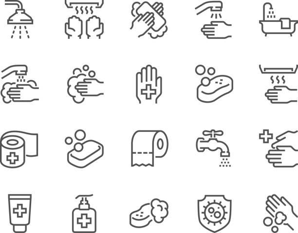 ilustrações, clipart, desenhos animados e ícones de linha higiene ícones - higiene
