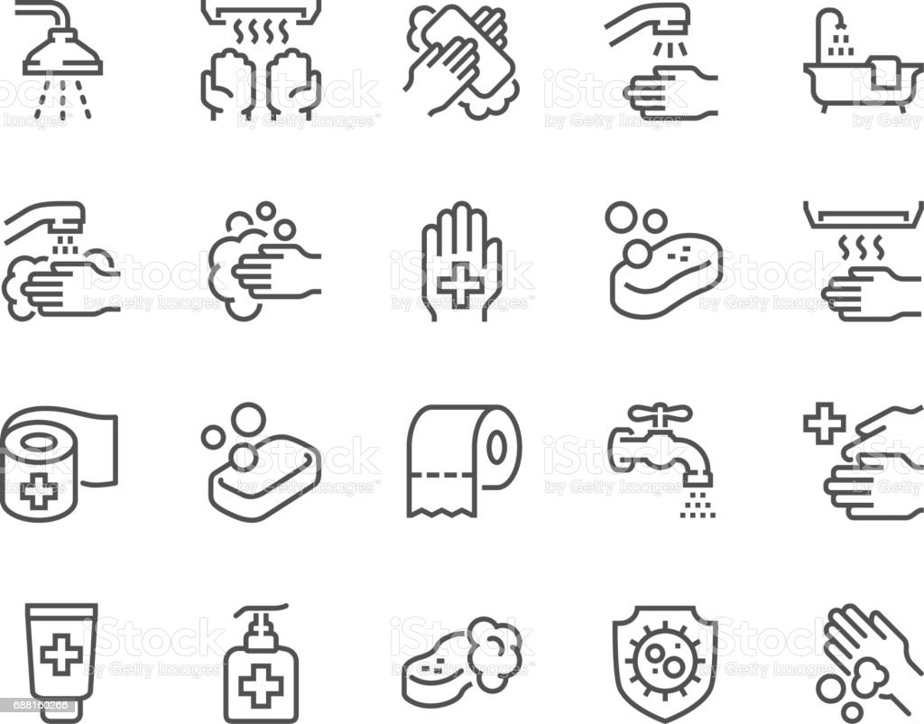 Line Hygiene Icons vector art illustration