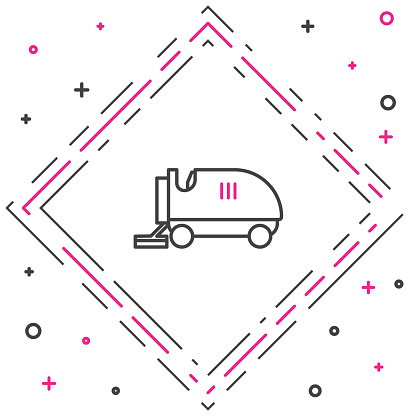 Line Ice resurfacer icon isolated on white background. Ice resurfacing machine on rink. Cleaner for ice rink and stadium. Colorful outline concept. Vector Illustration