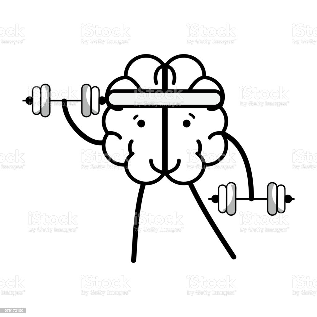 line icon adorable kawaii brain doing exercise vector art illustration