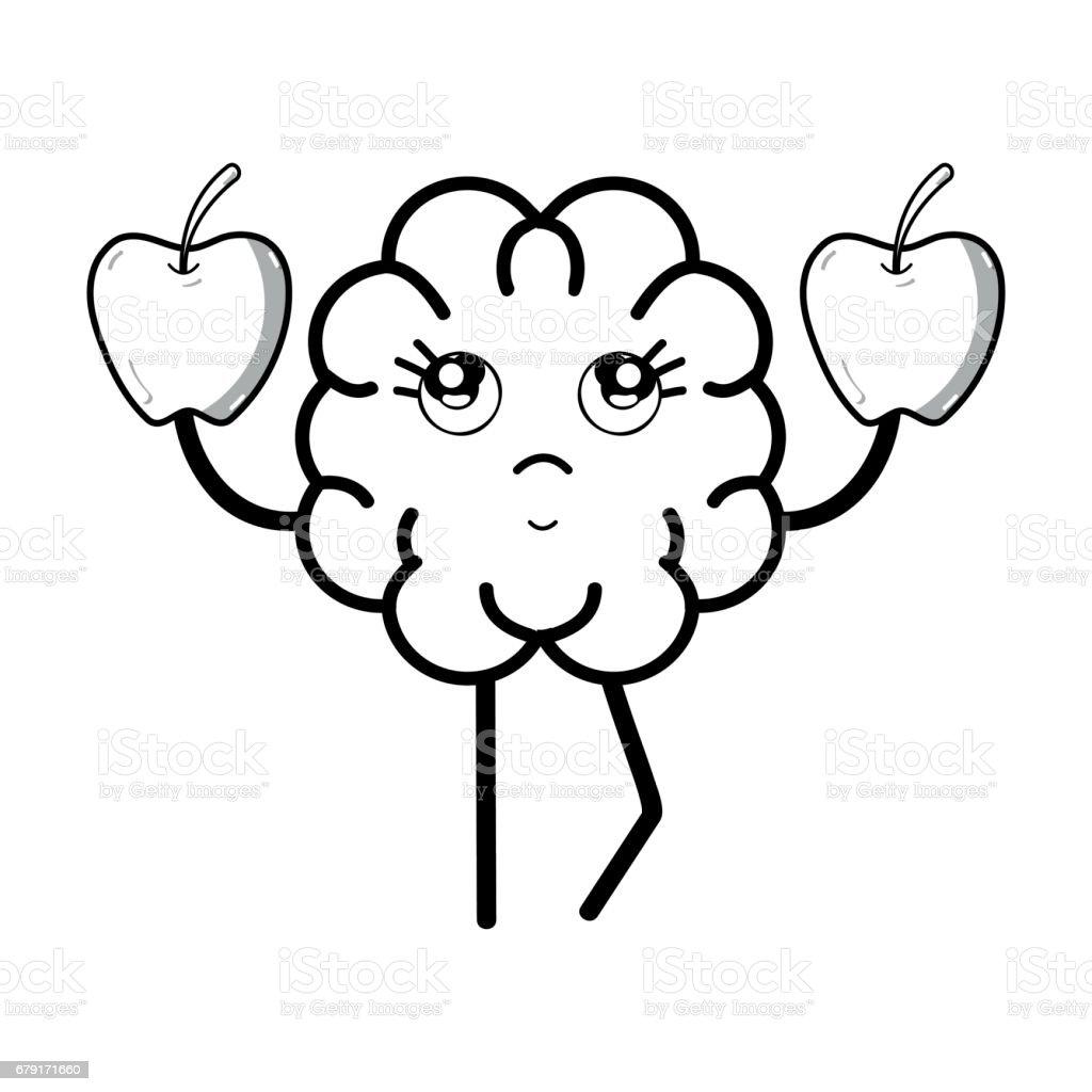 Línea Icono Kawaii Adorable Cerebro Comer Manzana - Arte vectorial ...