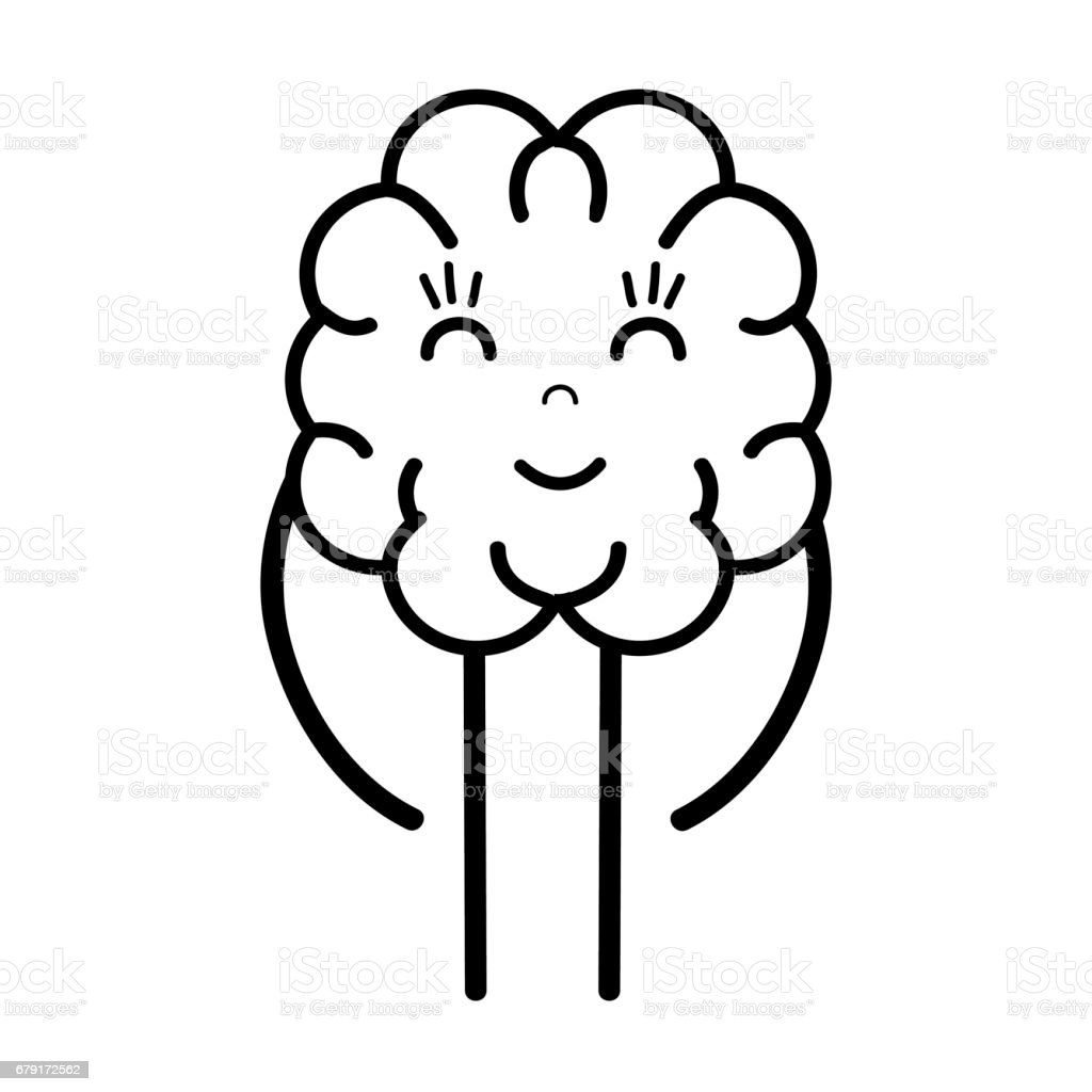 line icon adorable kawaii brain expression vector art illustration
