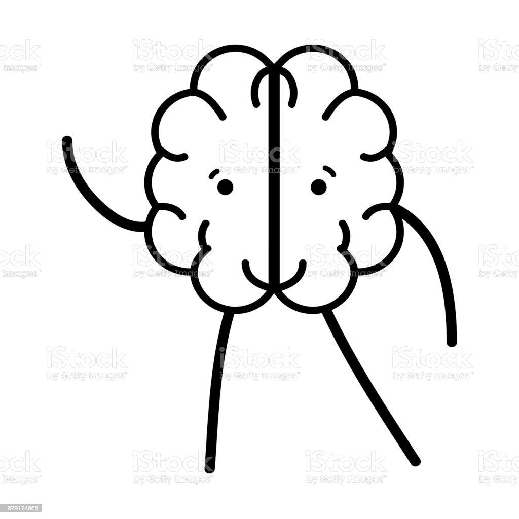 line icon adorable kawaii brain expression vector art illustration