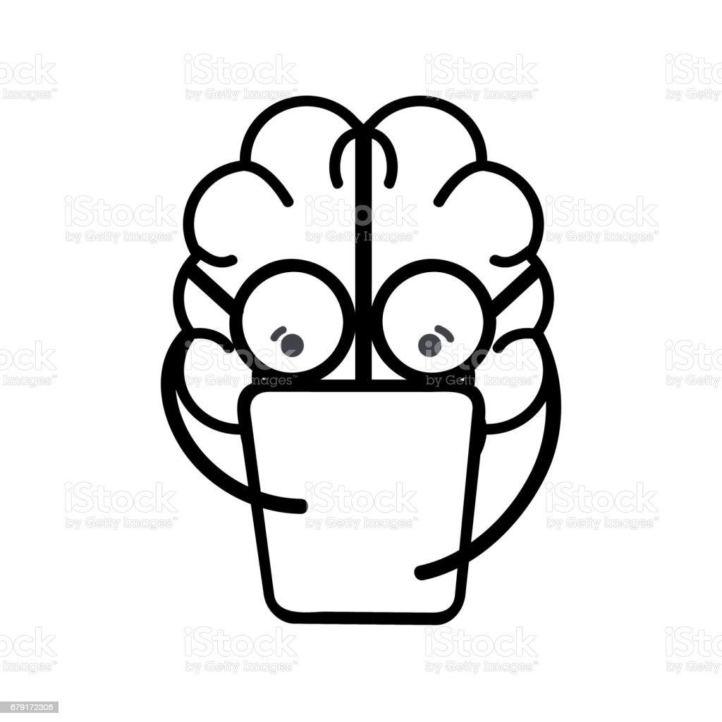 line icon adorable kawaii brain reading book vector art illustration