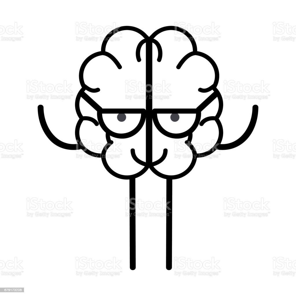 line icon adorable kawaii brain with glasses vector art illustration