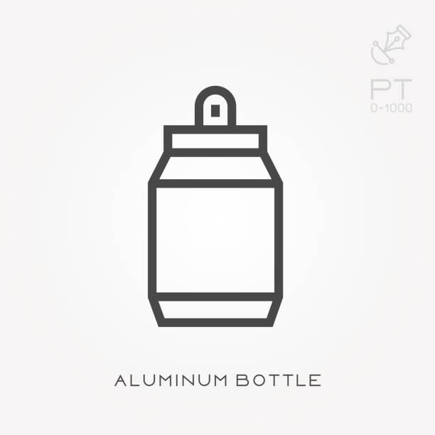 Botella de aluminio de icono de línea - ilustración de arte vectorial