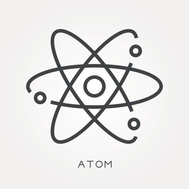Line icon atom Line icon atom atom stock illustrations