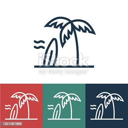 istock Line icon beach with surfboard 1301067969