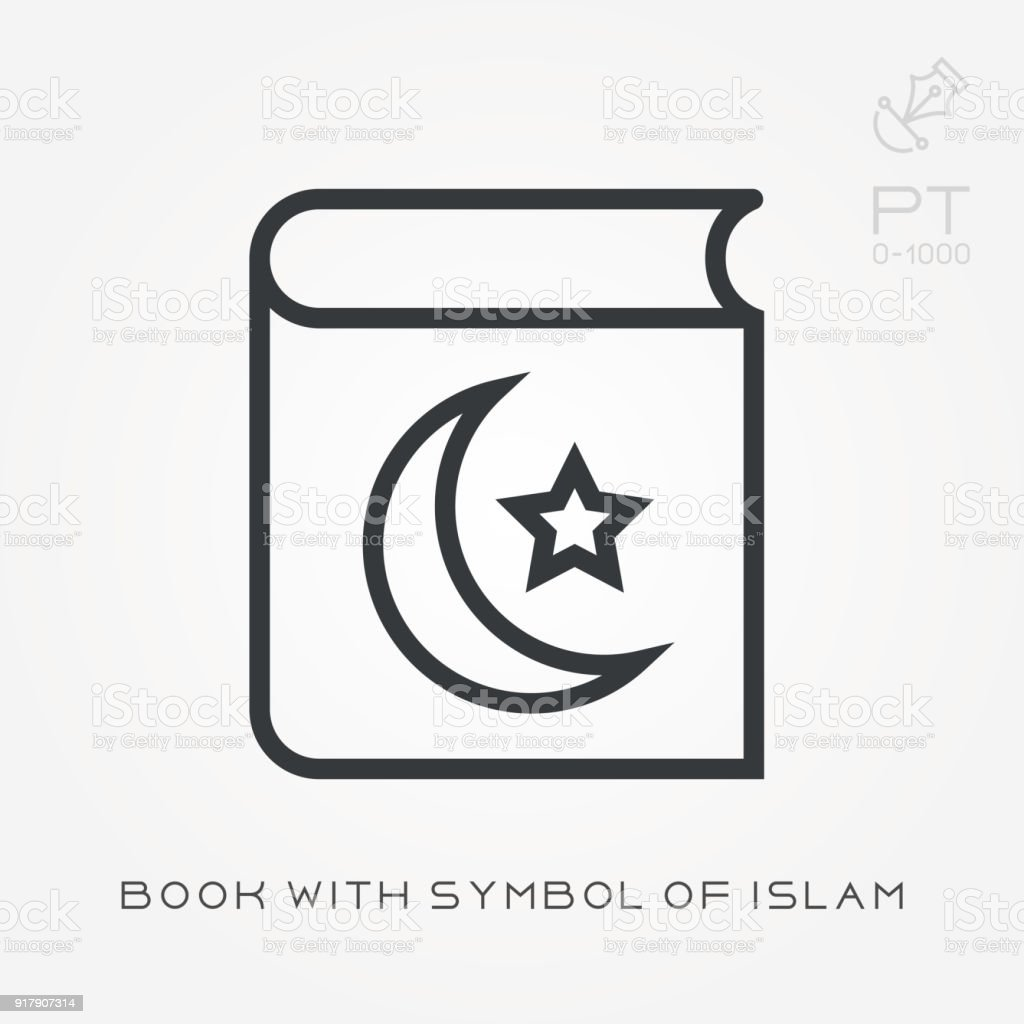 Line Icon Book With Symbol Of Islam Stock Vector Art More Images