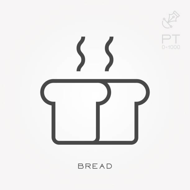 Línea icono pan - ilustración de arte vectorial