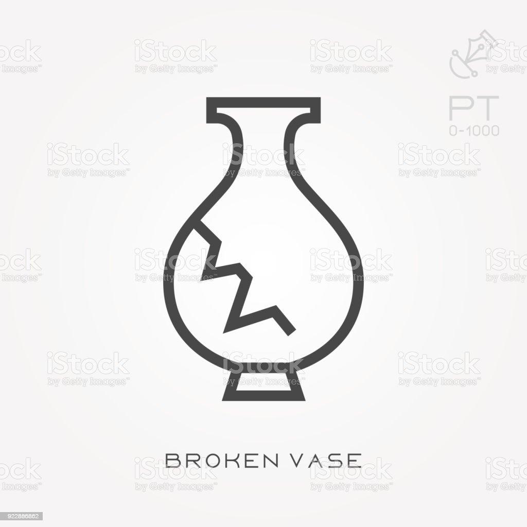 Florero roto del icono de línea - ilustración de arte vectorial