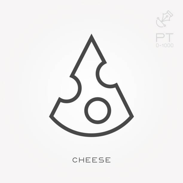 Línea icono queso - ilustración de arte vectorial