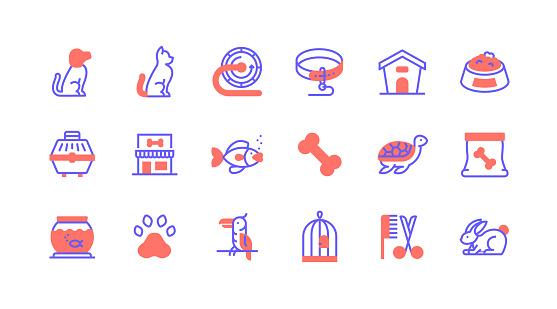 Line icon concepts. Pet, Dog, Cat, Pet Food, Aquarium icons.