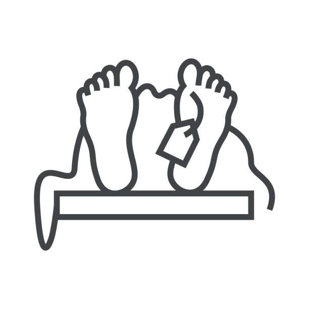 line icon dead man - autopsy stock illustrations, clip art, cartoons, & icons