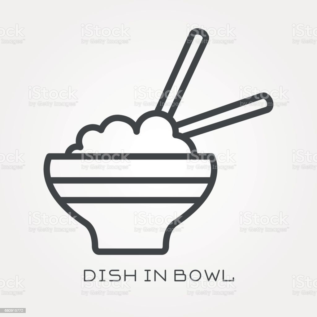 Line icon dish in bowl royalty-free line icon dish in bowl stock vector art & more images of art