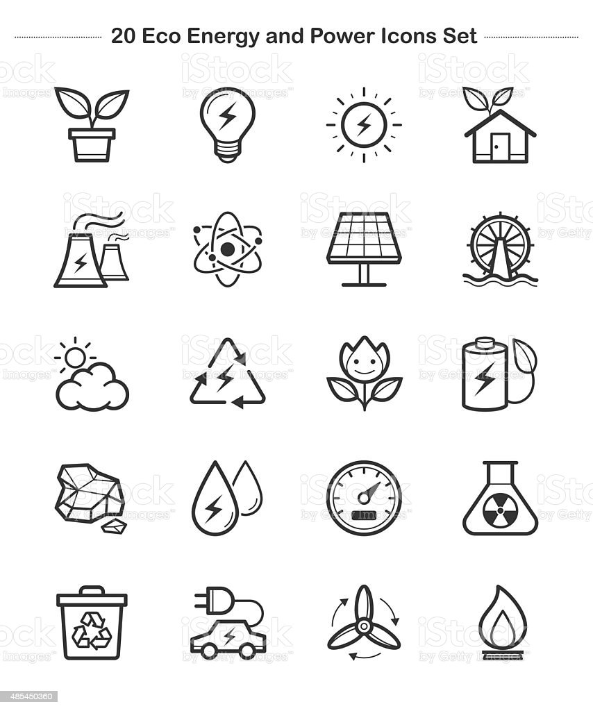 Line icon - Eco Energy and Power icons set, thick line vector art illustration