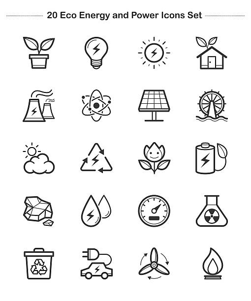 line icon - eco energy and power icons set, thick line - electrical wiring home stock illustrations, clip art, cartoons, & icons