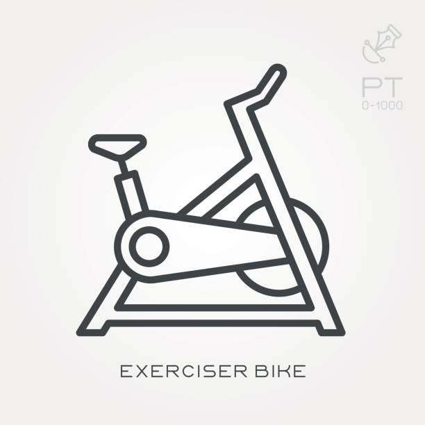 Line icon exerciser bike Line icon exerciser bike exercise bike stock illustrations