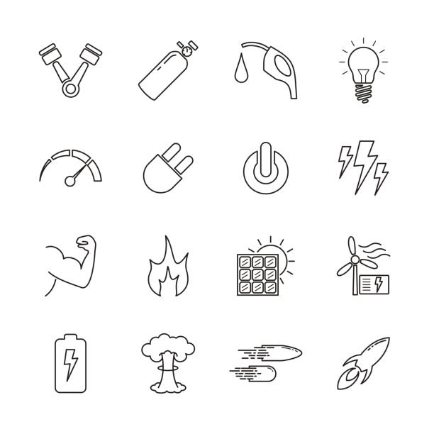 Line icon for energy relative Line icon for energy relative. Power from nature such as fire, solar, lightning, wind, muscle. Power from technology such as gas, nuclear, battery also relative power symbol. Editable stroke nitrous oxide stock illustrations