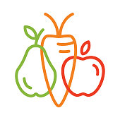 Vegetable and fruit symbols. Vector logo template