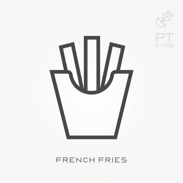 Línea icono papas fritas - ilustración de arte vectorial