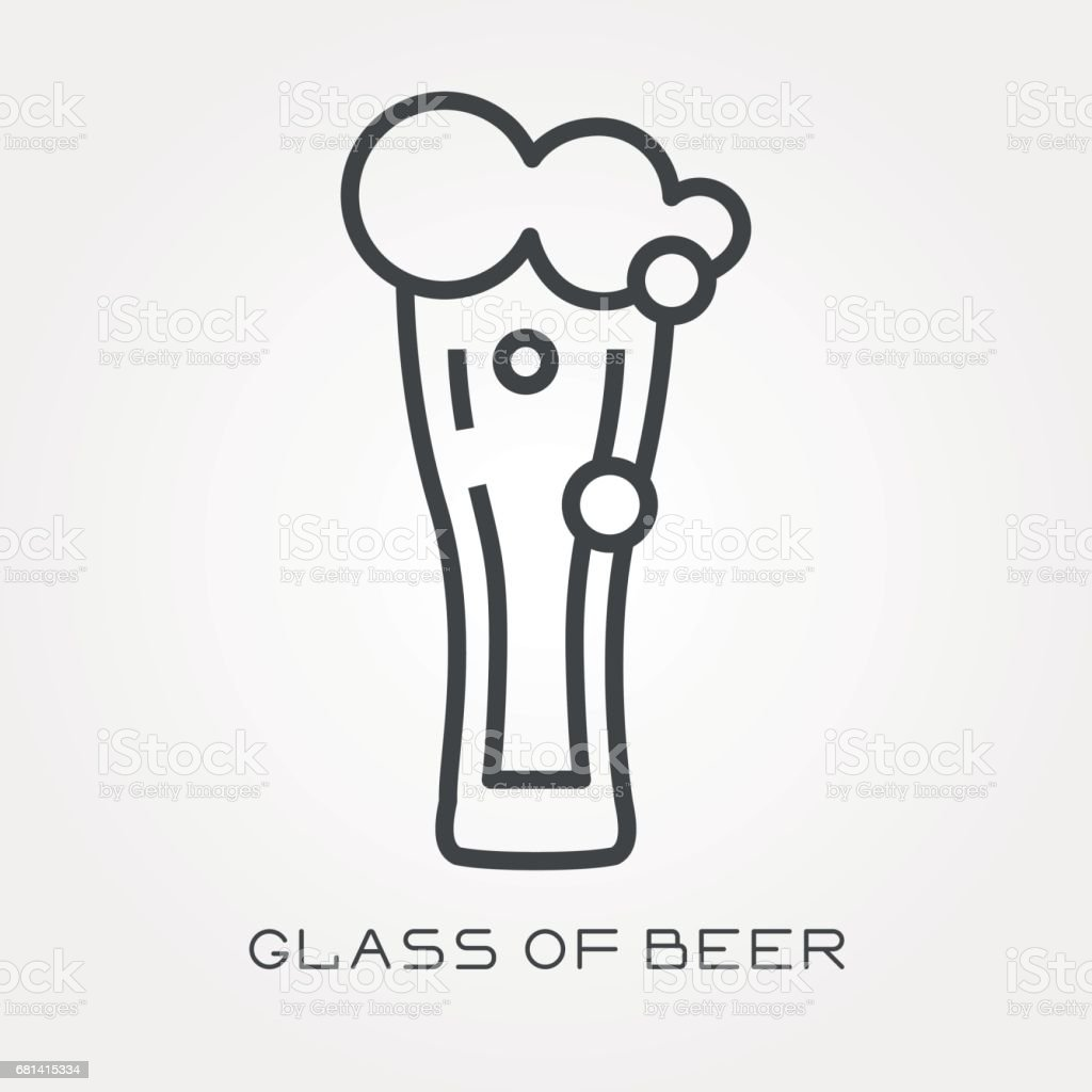 Line icon glass of beer royalty-free line icon glass of beer stock vector art & more images of alcohol