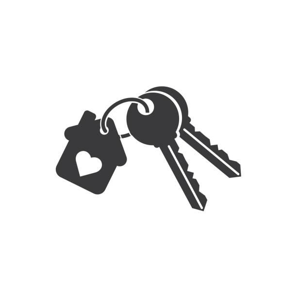 Line icon, house keys isolated on white background. Line icon, house keys isolated on white background. house key stock illustrations