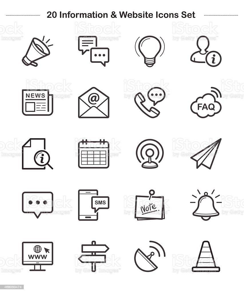 Line icon - Information & Website, Bold vector art illustration