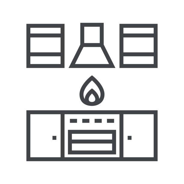 linie icon küchenset - küchensystem stock-grafiken, -clipart, -cartoons und -symbole