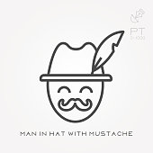 Line icon man in hat with mustache