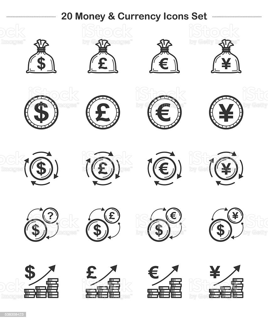 Line icon money currency bold stock vector art 538358423 istock bag bank briefcase british currency chart nvjuhfo Images