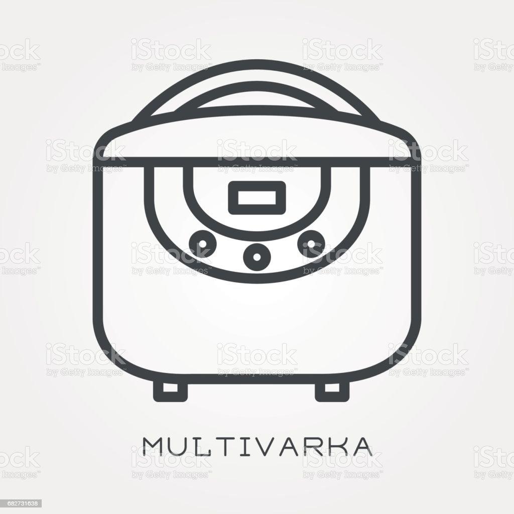 Line icon multivarka vector art illustration