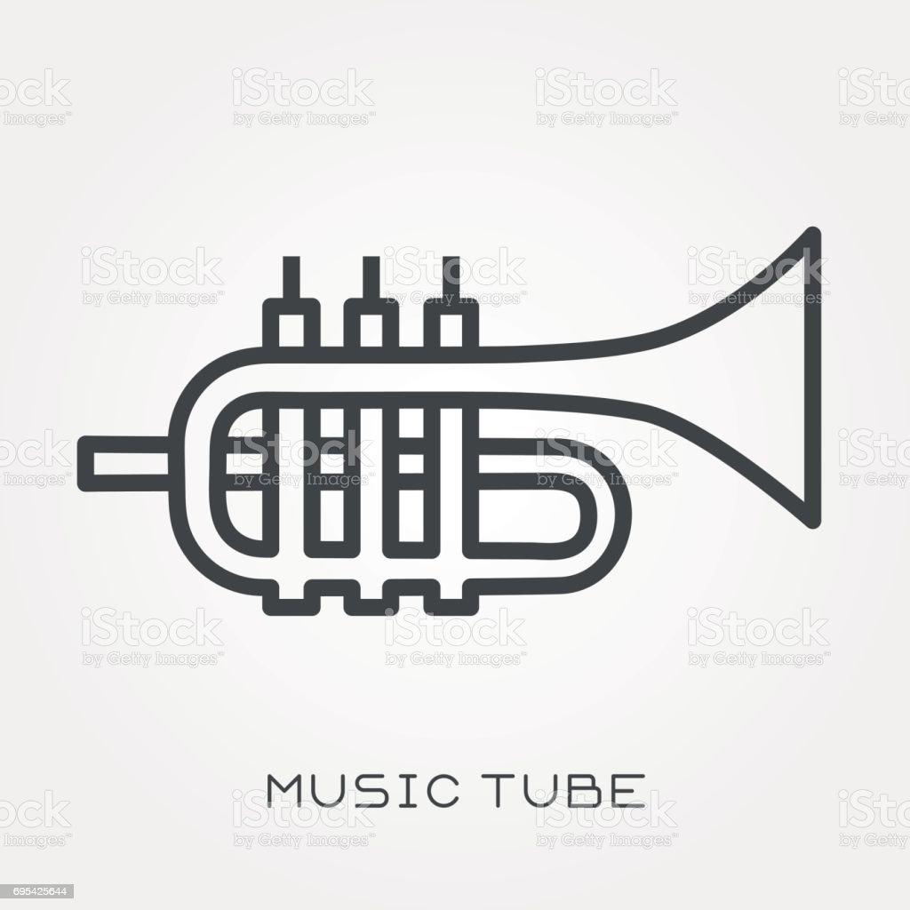 Line icon music tube vector art illustration