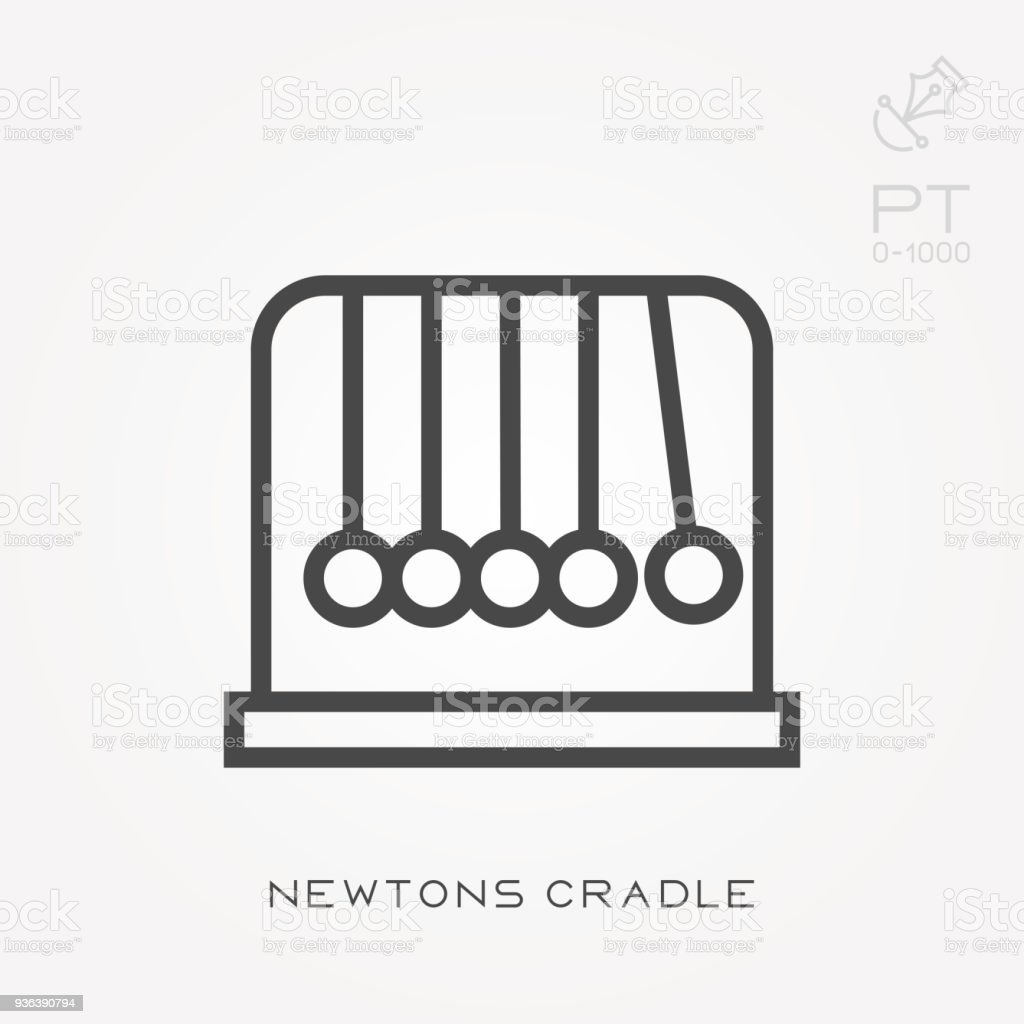 Line icon Newtons cradle vector art illustration