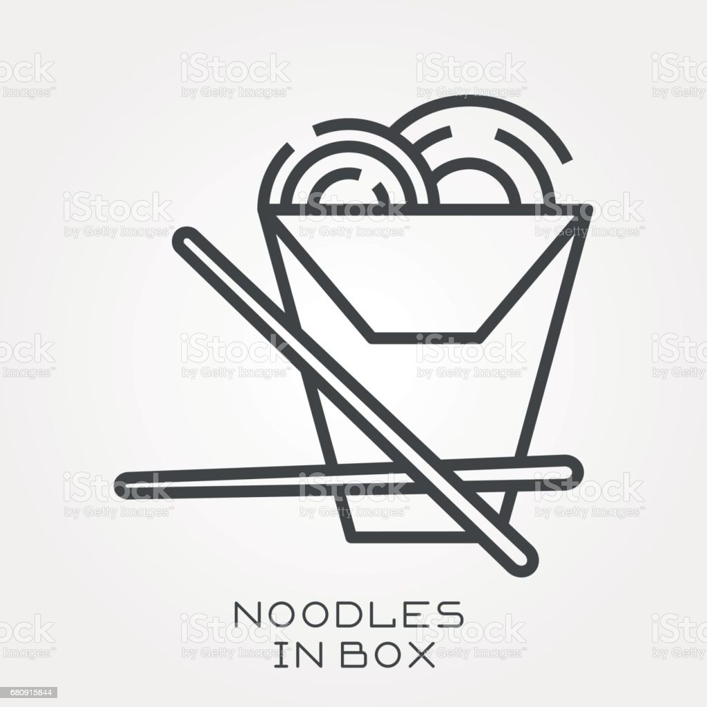 Line icon noodles in box royalty-free line icon noodles in box stock vector art & more images of art