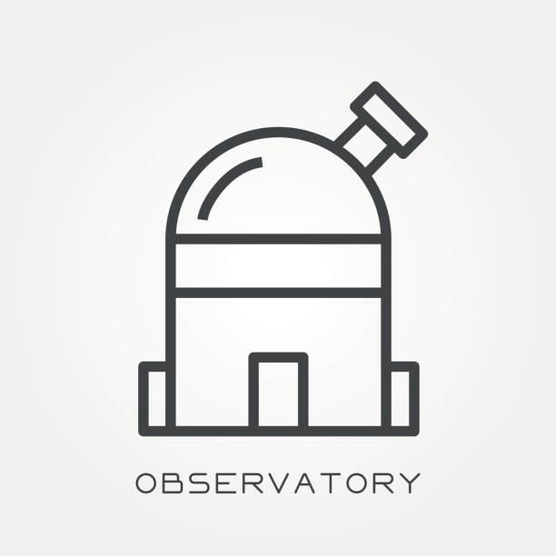 linie-symbol-observatorium - sternwarte stock-grafiken, -clipart, -cartoons und -symbole