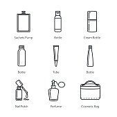 Line icon of beauty product packaging collection.