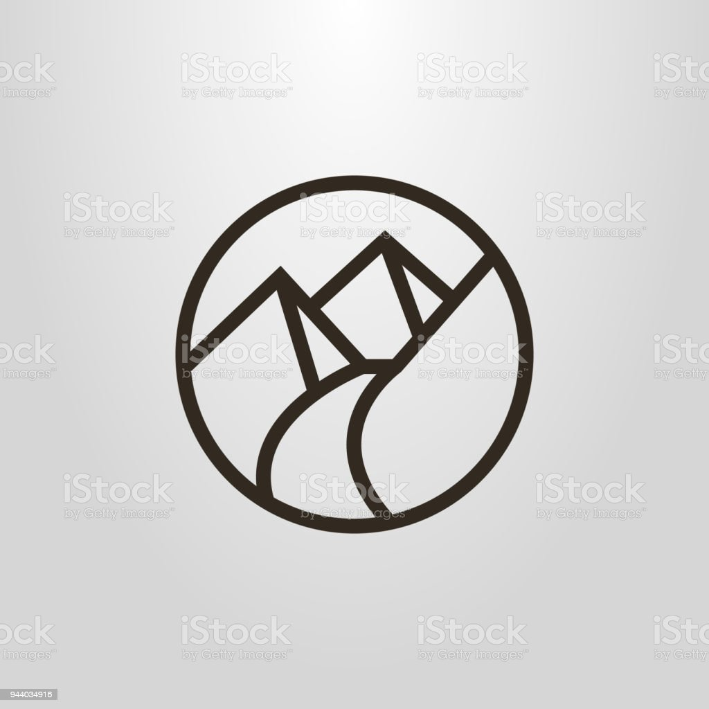 line icon of the footpath in the mountains vector art illustration